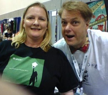 Treasurer Vikki DeVries with animator Bill Plympton.  He's the guy who animated the